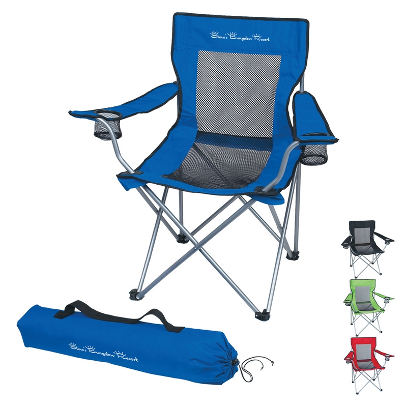 Customized Mesh Folding Chair with Carrying Bag Promotional Chairs