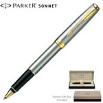 Customized Parker Sonnet Stainless GT Roller Ball Pen