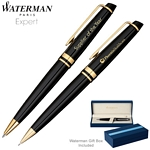 Customized Waterman Expert Black GT Ballpoint Pen & Pencil Set