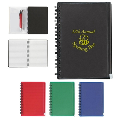 customized 5x7 spiral notebook with pouch promotional notebooks