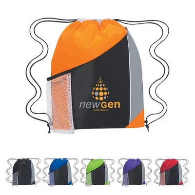 Promotional Drawstring Bags: Customized Tri-Color Sports Drawstring Backpack