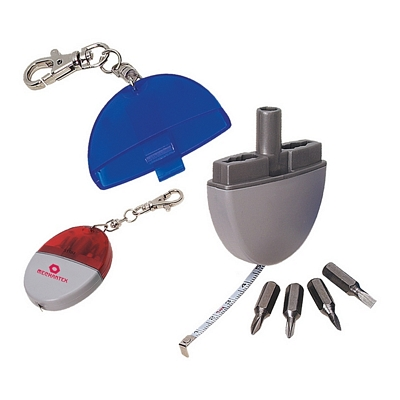 Promotional Tools: Customized 3 in 1 Tool Kit Tape Measure and Screw Driver Key Chains