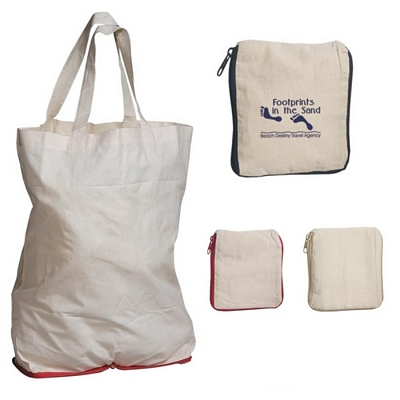 Promotional Tote Bags: Customized Foldable Cotton Tote Bag with Zipper