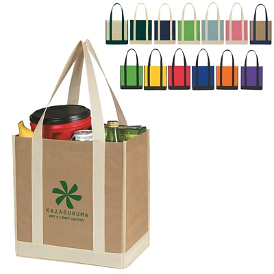 Promotional Tote Bags: Customized NonWoven Two-Tone Shopper Tote Bag