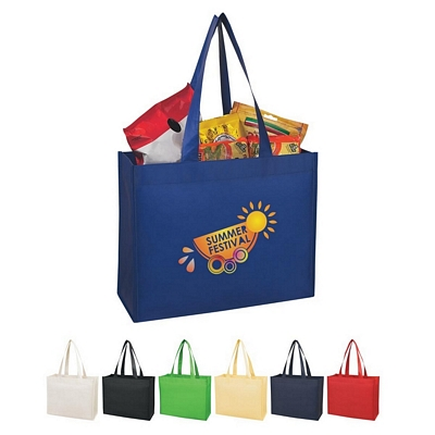 Promotional Shopping Tote Bags: Customized Matte Laminated Wide-Mouth Non-Woven Shopper Tote Bag