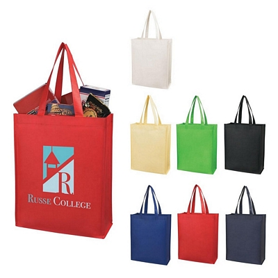 Promotional Shopping Tote Bags: Customized Matte Laminated Vertical Non-woven Shopper Tote Bag