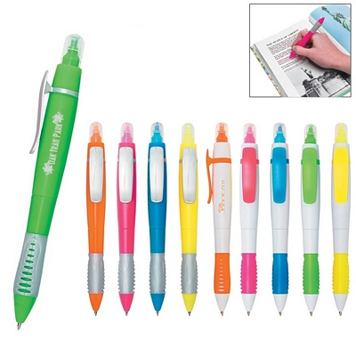 Promotional Highlighters: Customized Color Twin-Write Pen-Highlighter