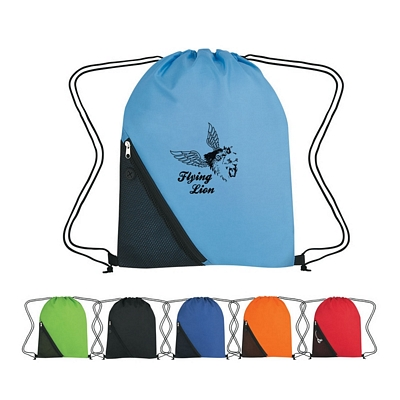 Promotional Drawstring Bags: Customized Sports Pack With Outside Mesh Pocket