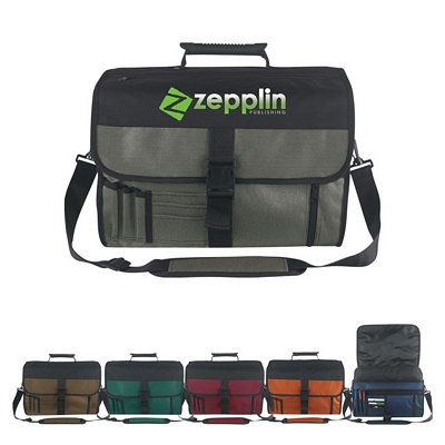Promotional Messenger Bags: Customized Expandable Deluxe Briefcase Messenger Bag