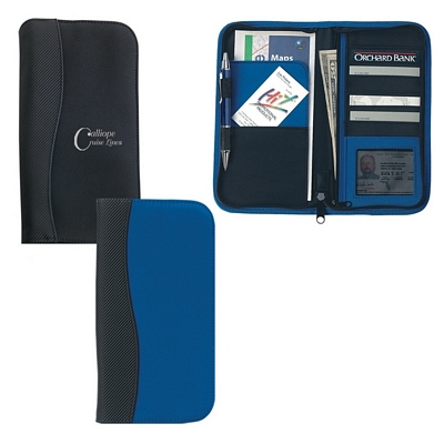 Promotional Travel Wallets: Customized Microfiber Travel Wallet with Embossed PVC Trim