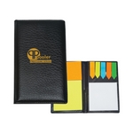 Promotional Memo Pad Holders: Customized Leather look Padfolio with Sticky Note Pads & Flags