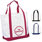 Promotional Tote Bags: Customized White Polyester Tote Bag Two Tone