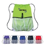 Promotional Drawstring Bags: Customized Sports Drawstring Backpack with Outside Mesh Pocket