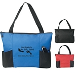 Promotional Tote Bags: Customized Double Pocket Zippered Tote Bag