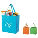 Promotional Shopping Tote Bags: Customized Shiny Laminated Non-woven Tropic Shopper Tote Bag