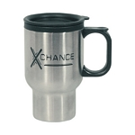 Promotional Travel Mugs: Customized 16 oz. Stainless Steel Travel Mug with Sip-Thru Lid Plastic Inner Liner
