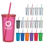 Promotional Tumblers: Customized 24 oz. Double Wall Acrylic Tumbler With Straw