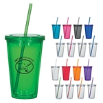 Promotional Tumblers: Customized 16 oz. Double Wall Acrylic Tumbler With Straw