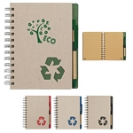 Promotional EcoFriendly Notebooks: Customized Eco-rich 5x7 Spiral Notebook & Pen