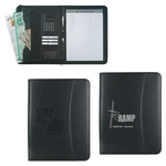 Promotional Padfolios: Customized Leather Look 8  x 11 Zippered Portfolio with Calculator