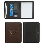 Promotional Padfolios: Customized Pebble Grain 8-1-2 x 11 Zippered Padfolio with Calculator