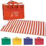 Promotional Beach Mats: Customized Striped Beach Mat Tote Bag with Pillow