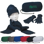 Promotional Beanie Cap Sets: Customized Embroidered Keep Warm Winter Set - Gloves, Beanie Cap, Scarf