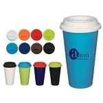 Promotional Ceramic Mugs: Customized 11 oz Double Wall Ceramic Mug with Silicon Lid
