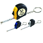 Promotional Tape Measures: Customized Rubber Tape Measure Key Tag with Laminated Label