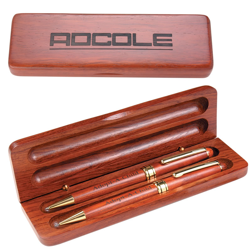 Promotional Rosewood Pen Pencil Set With Wooden Gift Box