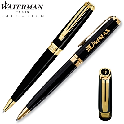 Customized Waterman Exception Slim Black GT Ballpoint Pen