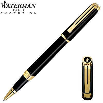 Customized Waterman Exception Slim Black GT Roller Pen