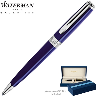Customized Waterman Exception Slim Blue ST Ballpoint Pen