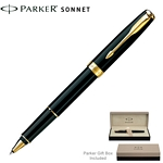 Customized Parker Sonnet Laque Black GT Roller Ball Pen