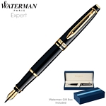 Customized Waterman Expert Black GT Fountain Pen