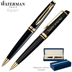 Customized Waterman Expert Black GT Ballpoint Pen