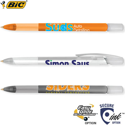 Customized Pens: BIC Media Clic Ice Pen with Rubber Grip