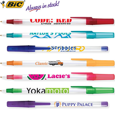 Customized Pens: BIC Round Stic Pen Ice Colors