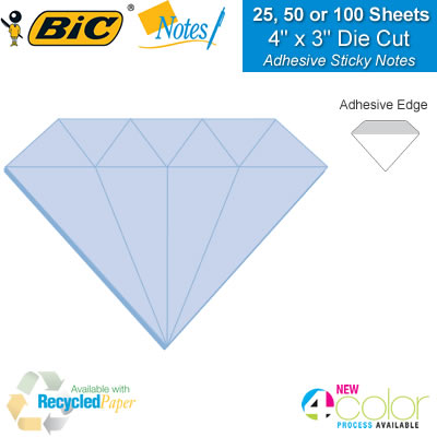 promotional bic sticky notes 4 x 3 diamond adhesive die cut sticky