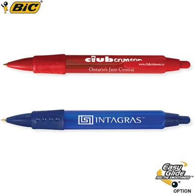 Customized Pens: BIC Tri Stic WideBody Clear Pen with Color Grip